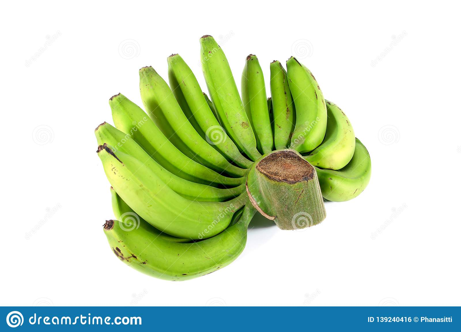 Side of green raw bananas isolated on white background