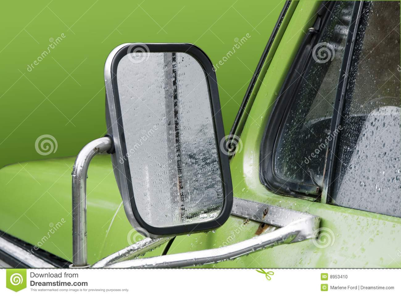 Side Mirror In Pickup Truck Stock Photo Image Of Green