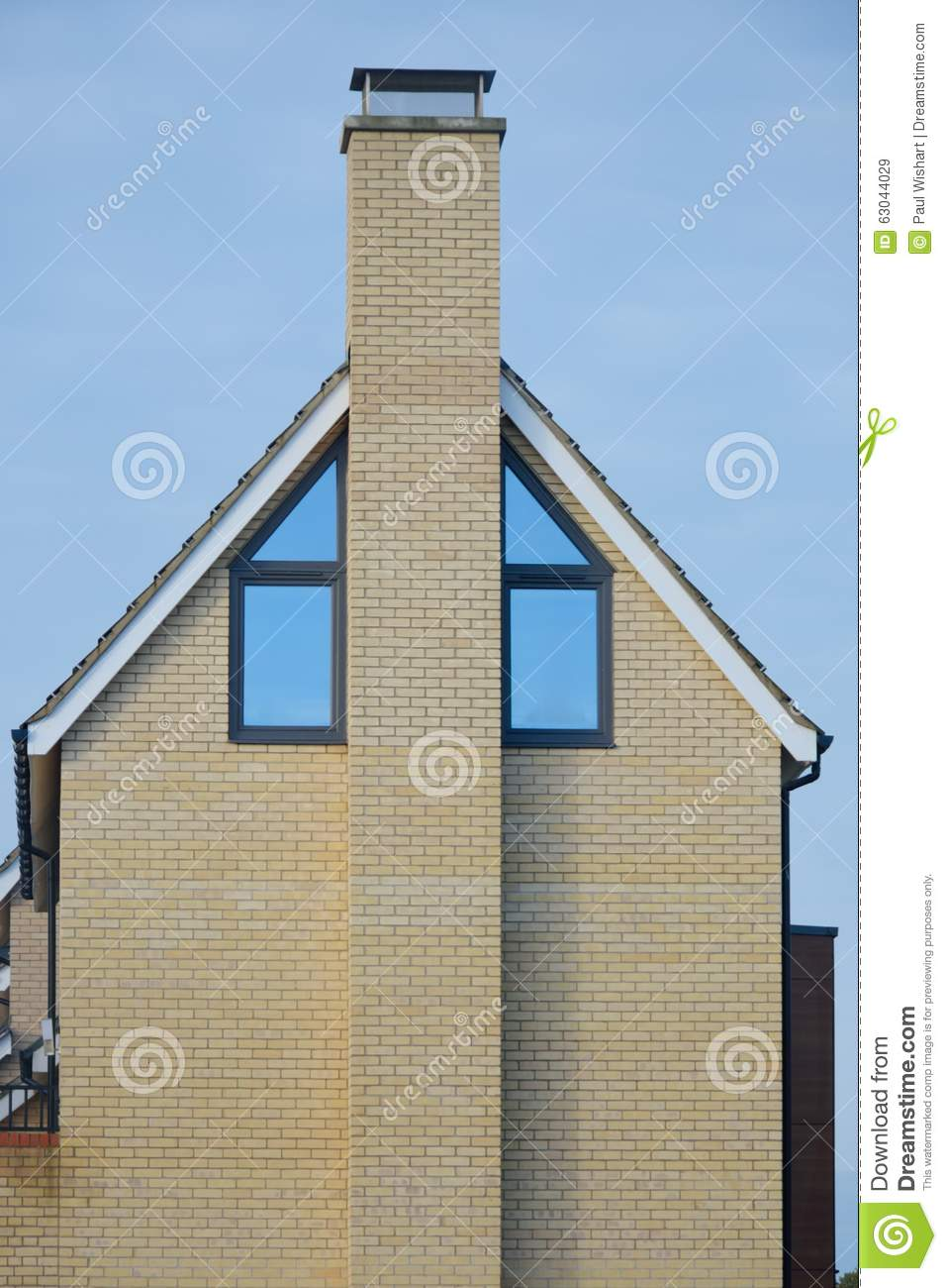 Side Of Modern House With Chimney Stock Photo Image
