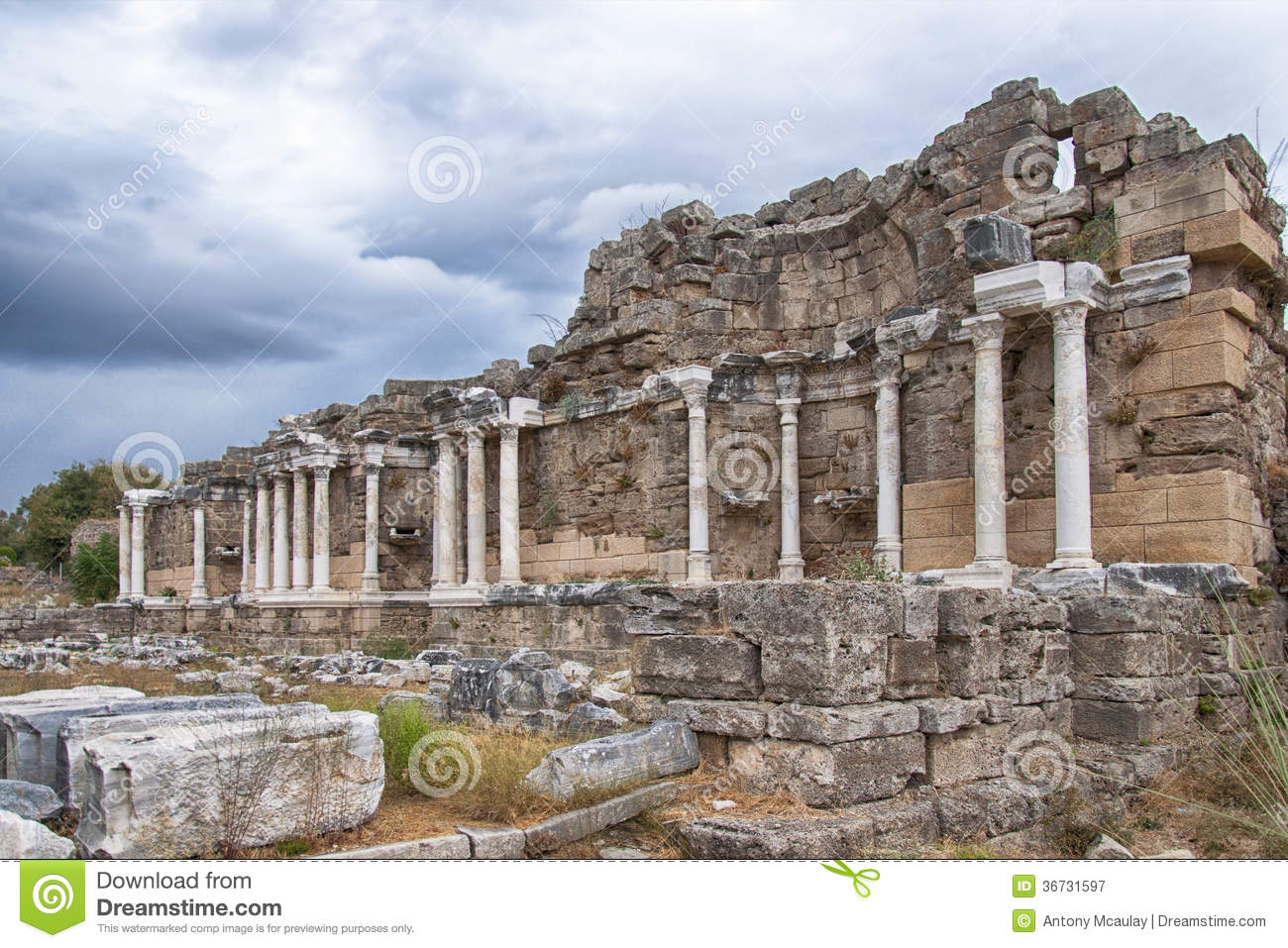 Side Nymphaeum Fountain Ruins 05 Royalty Free Stock ...