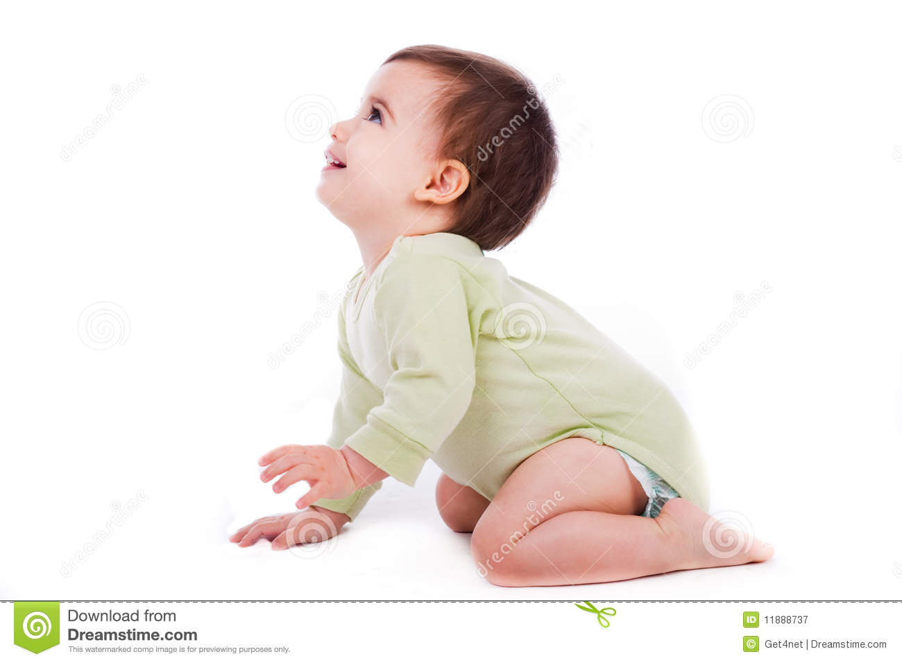 Side Pose Of Baby Sitting And Looking Up Stock Image ...