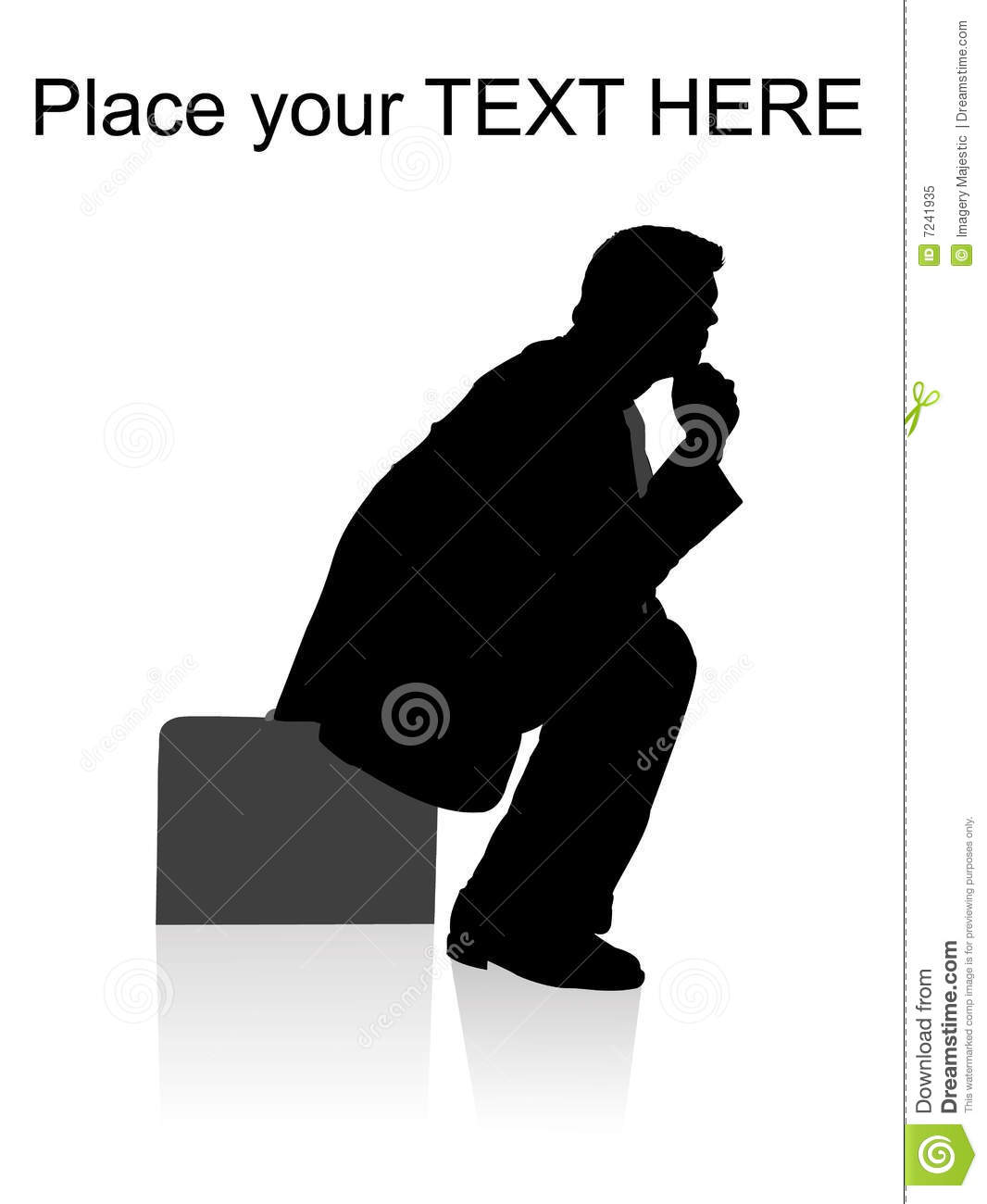 Side pose of man sitting on briefcase
