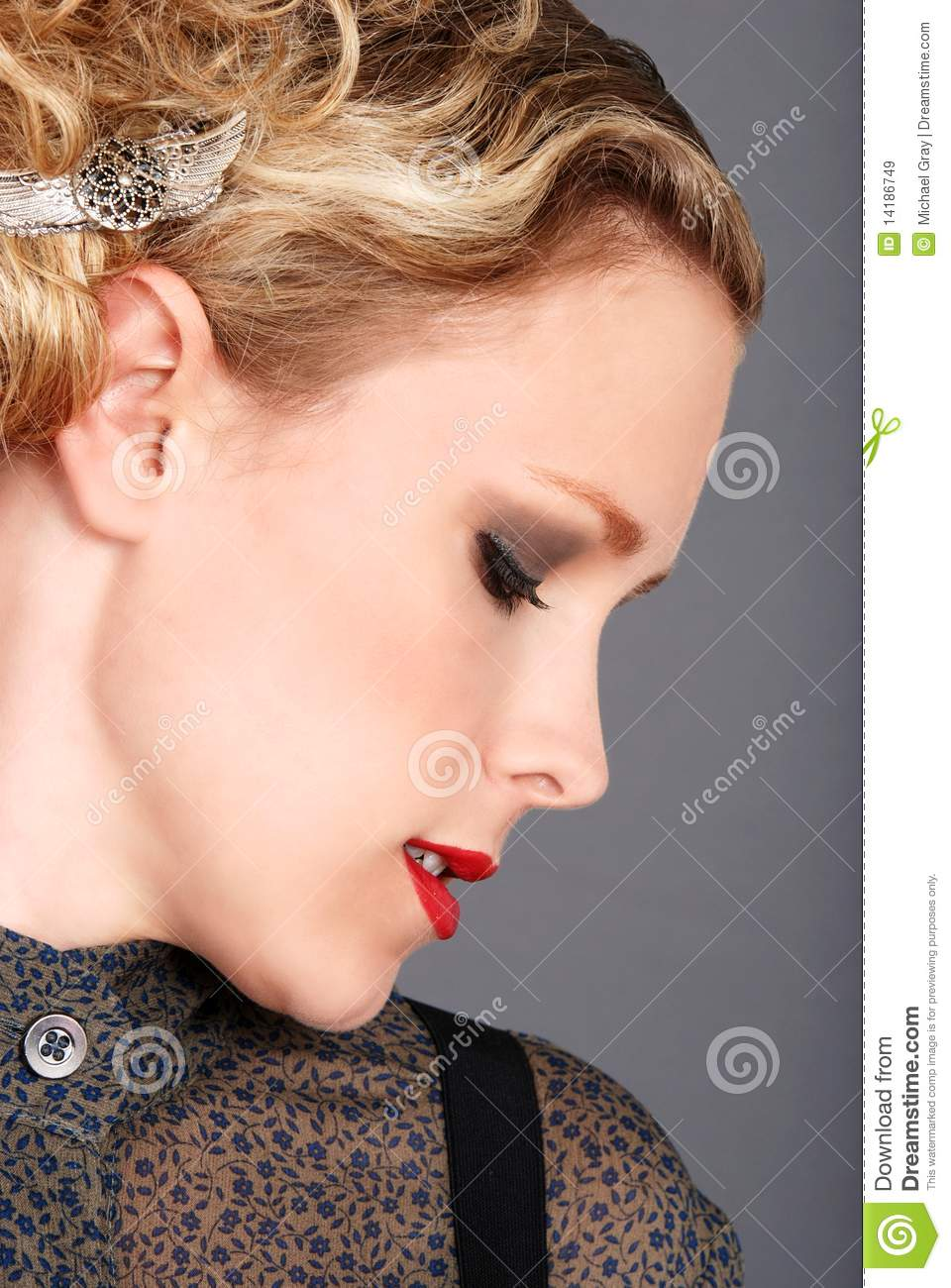 Side profile blonde woman stock image. Image of view - 14186749