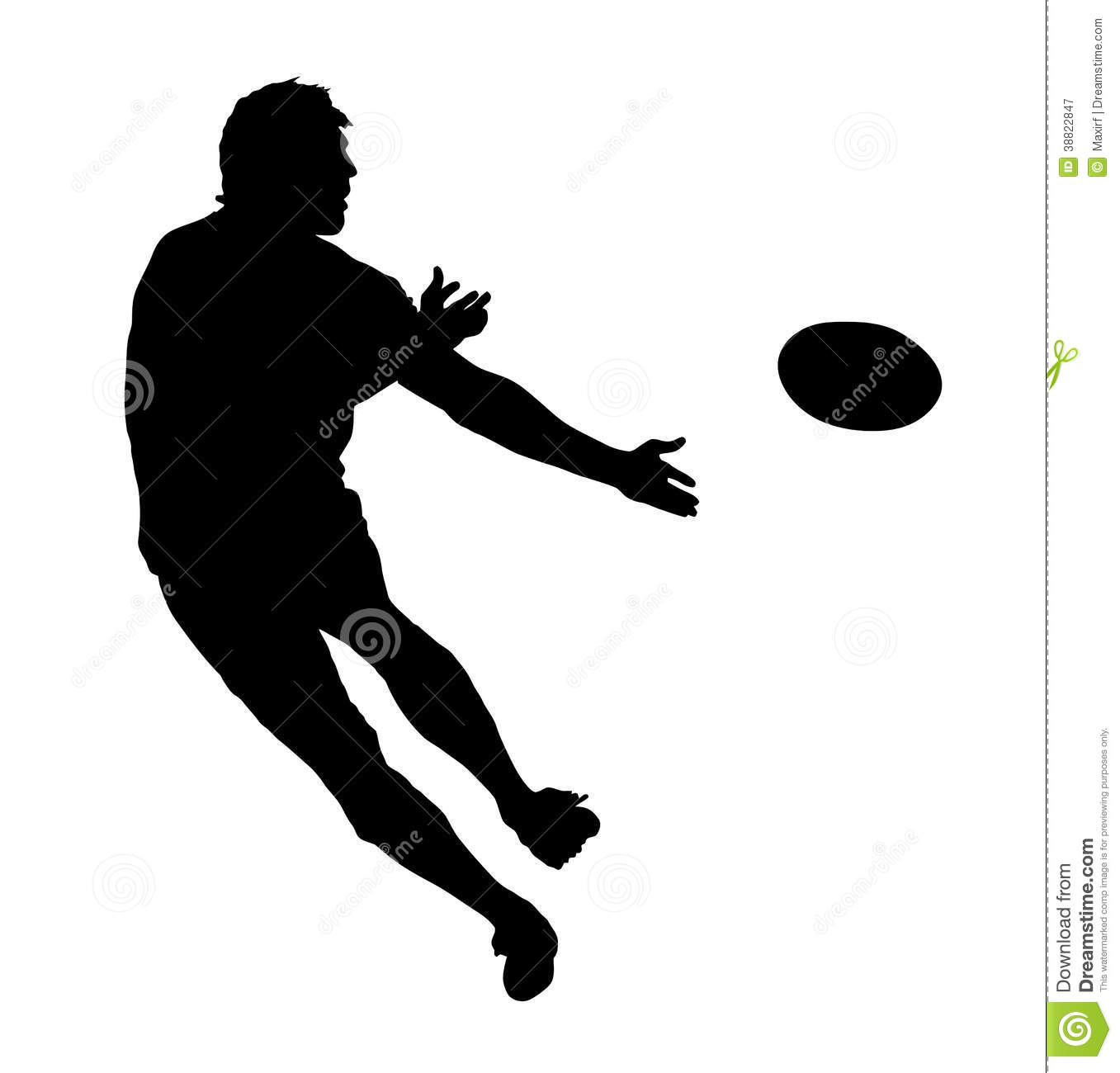 Side Profile Of Rugby Speedster Passing The Ball Stock Vector - Image ...