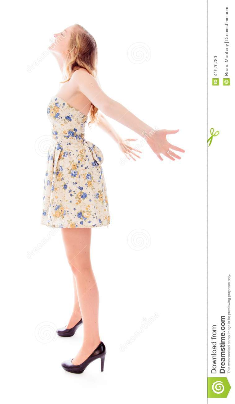Woman Standing Side White Background Side profile of a young woman    Woman Standing Side White Background