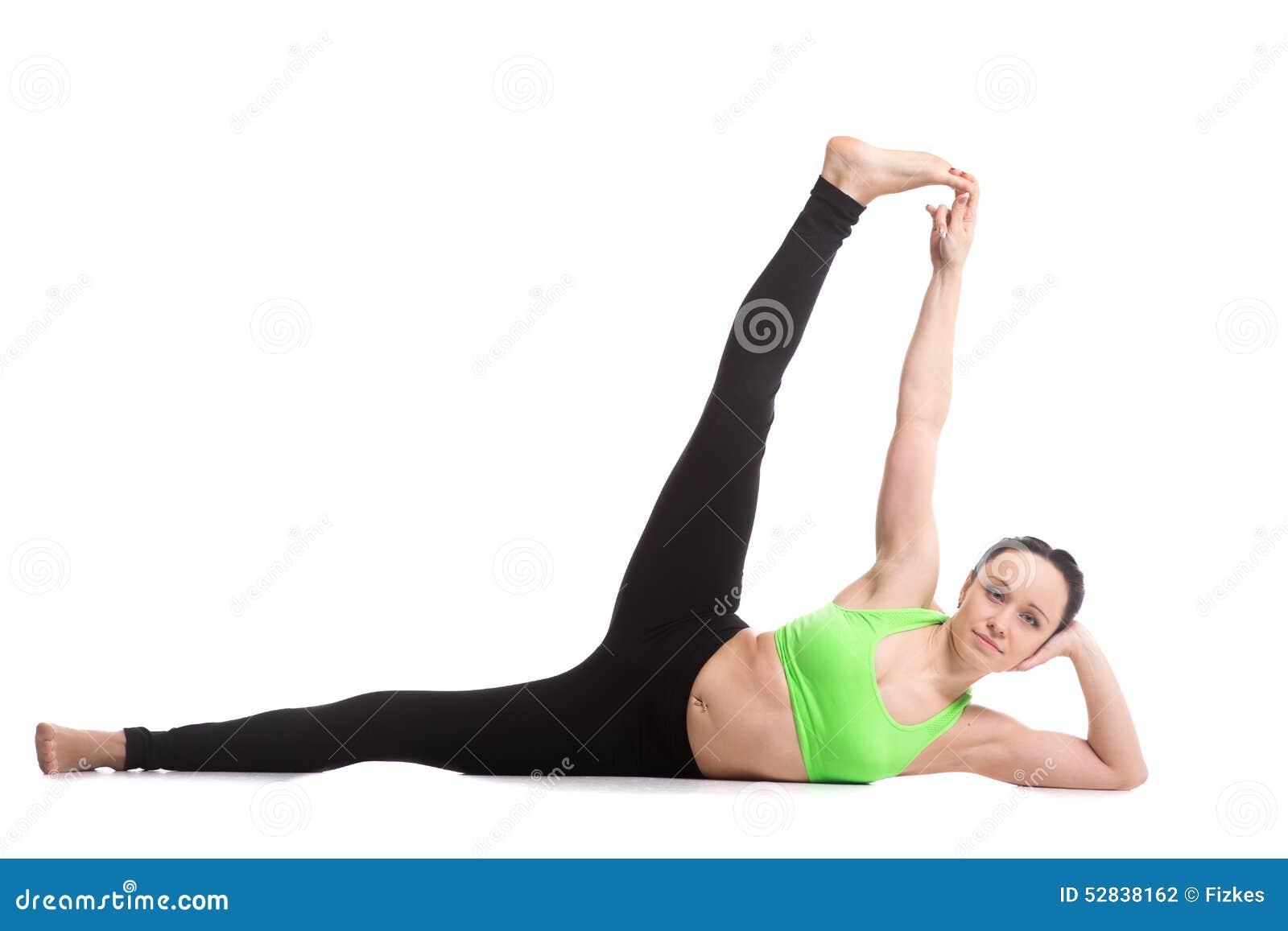 Side Reclining Leg Lift Yoga Pose Stock Photo   Image of asana ...