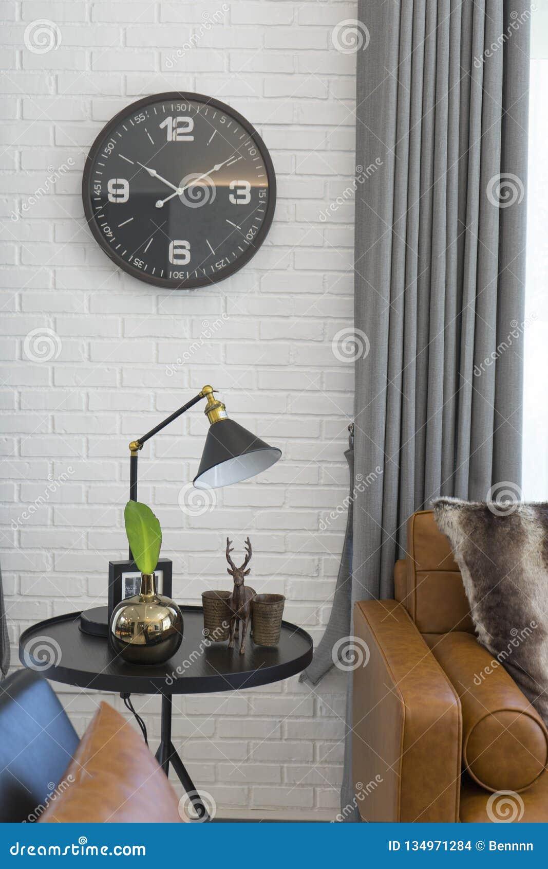 Excellent Side Table With Black Table Light Bedside Brown Leather Sofa Inzonedesignstudio Interior Chair Design Inzonedesignstudiocom