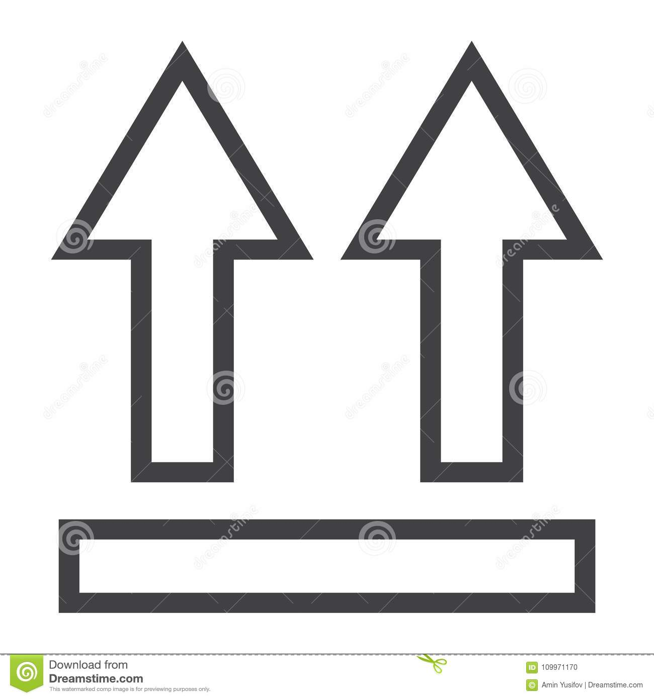 This Side Up Symbol Line Icon Logistic Stock Vector Illustration