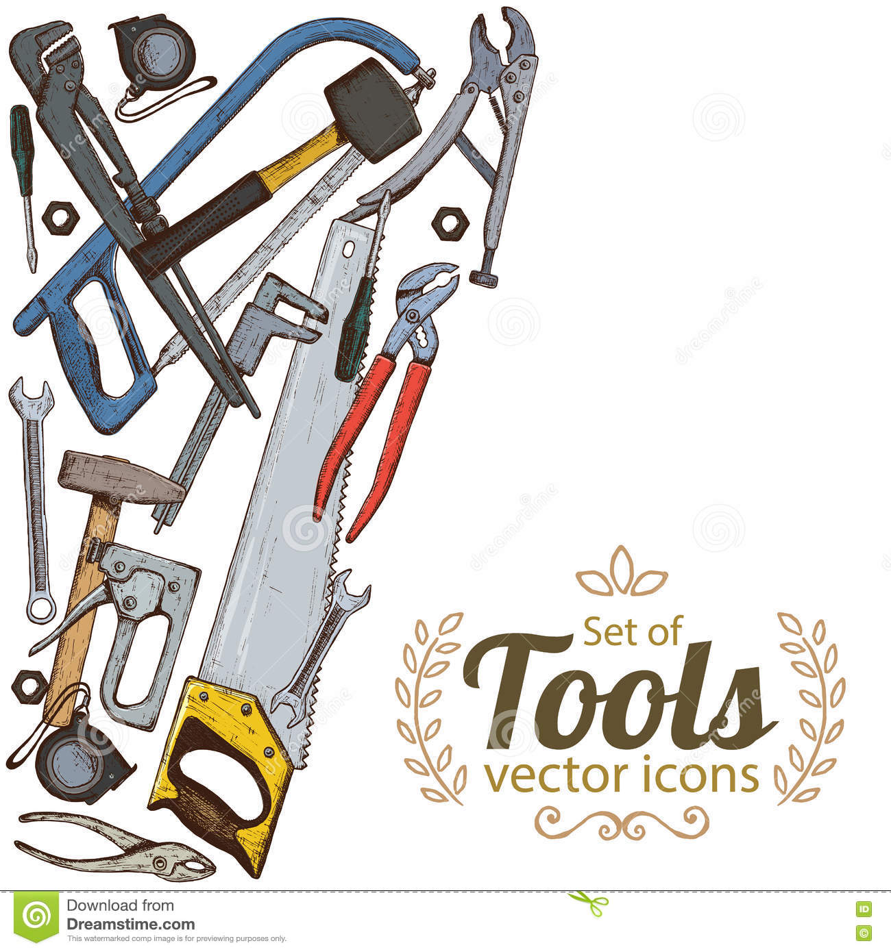 Side Vertical Border With Repair Tools Icons Stock Vector ...