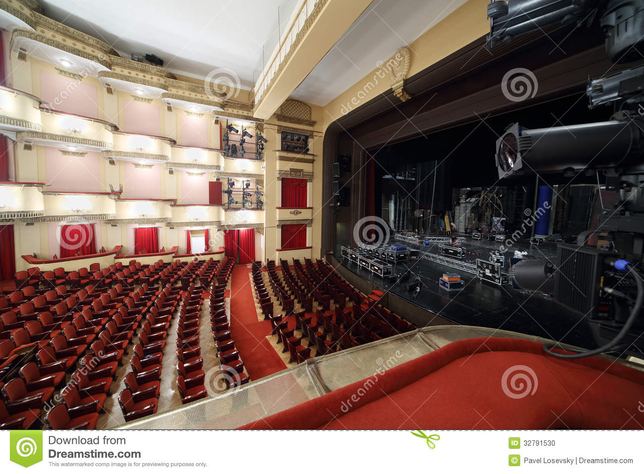 Side View Of Auditorium And Stage In Vakhtangov Theatre