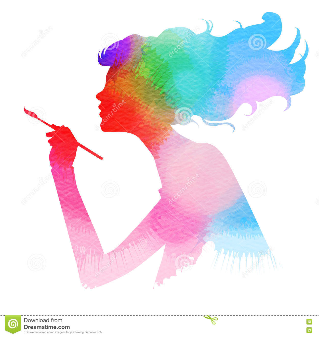 Side view of beautiful artist girl holding paint brush