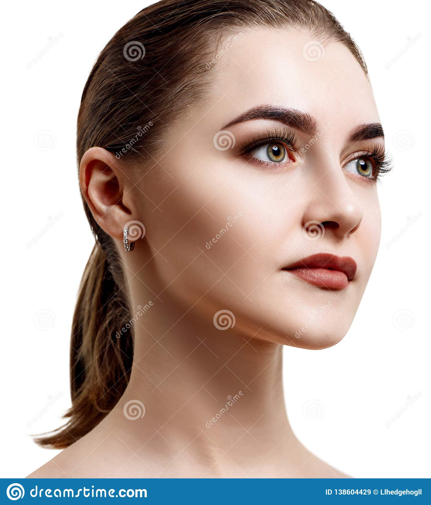 Side View On Beautiful Female Face With Perfect Skin