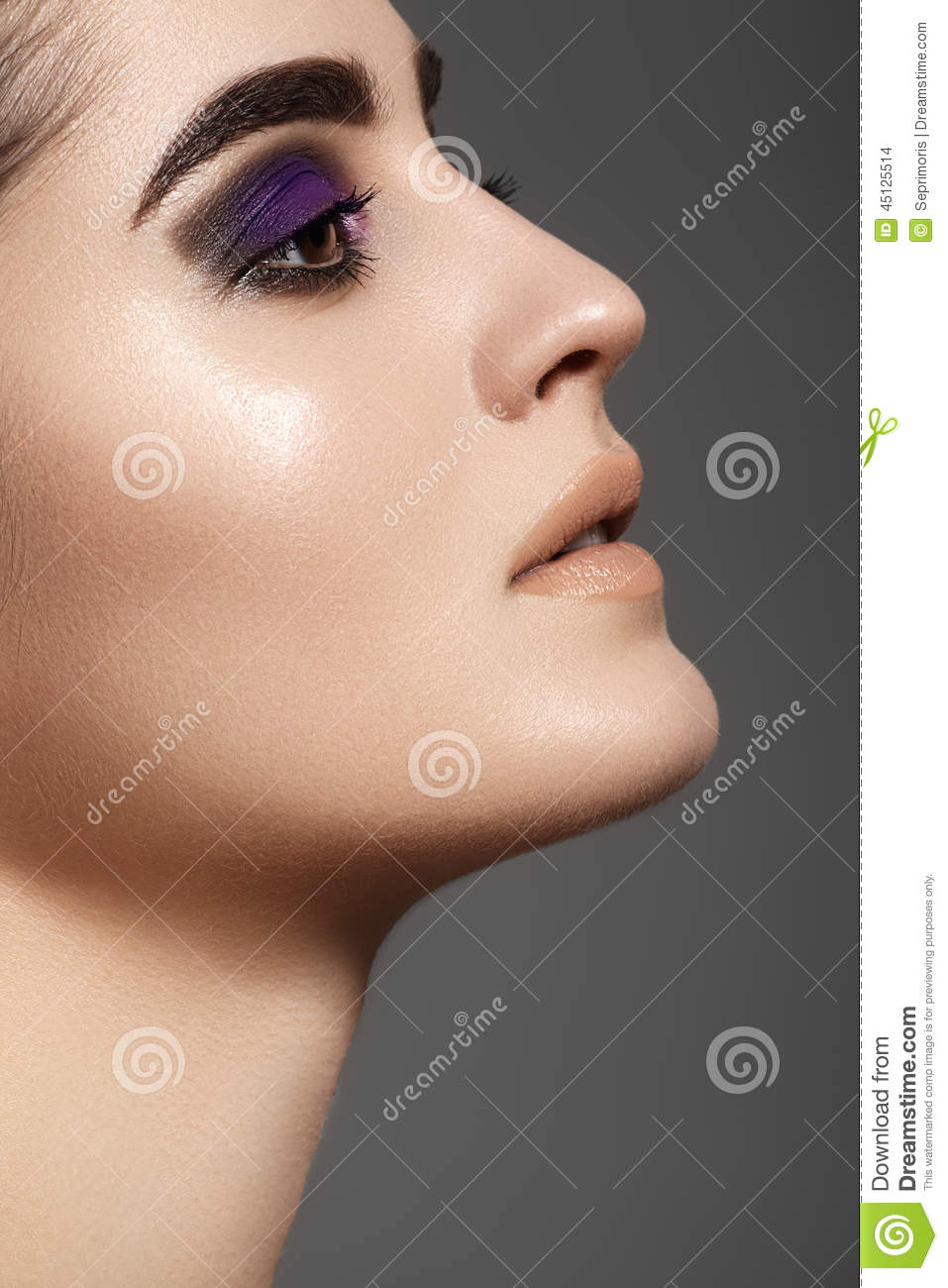 Side view of beautiful model face with fashion eyes make for Luxury women