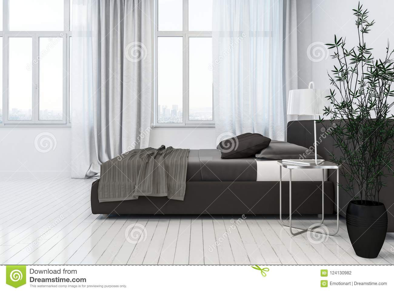 Side View Of Black Bed Next To Glpane Window And Nightstand In Bedroom On Top Of White Wooden Flooring D Rendering
