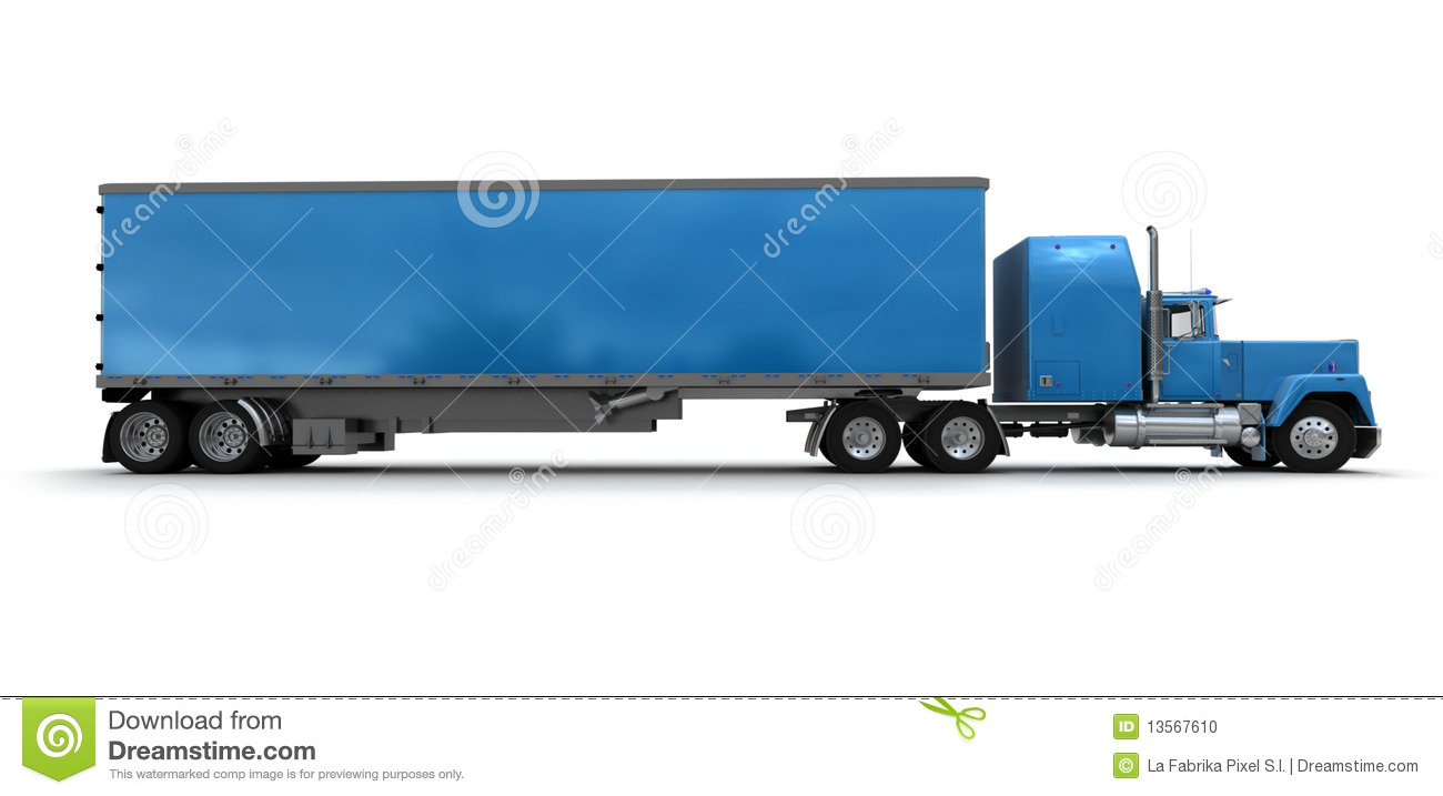 Side View Of A Big Blue Trailer Truck Stock Illustration