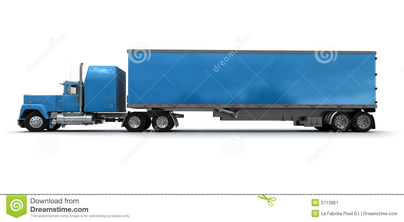 Side View Of A Big Blue Trailer Truck Stock Image