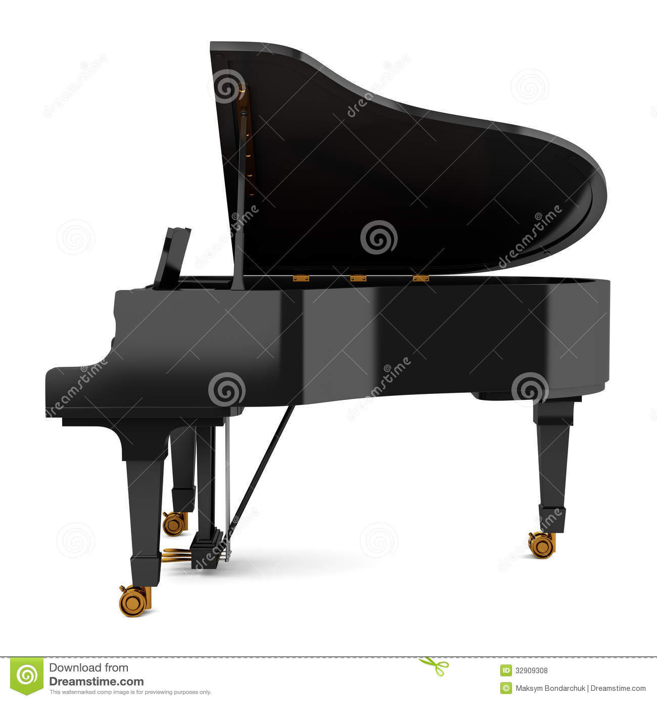 Side View Of Black Grand Piano Isolated On White Stock ...