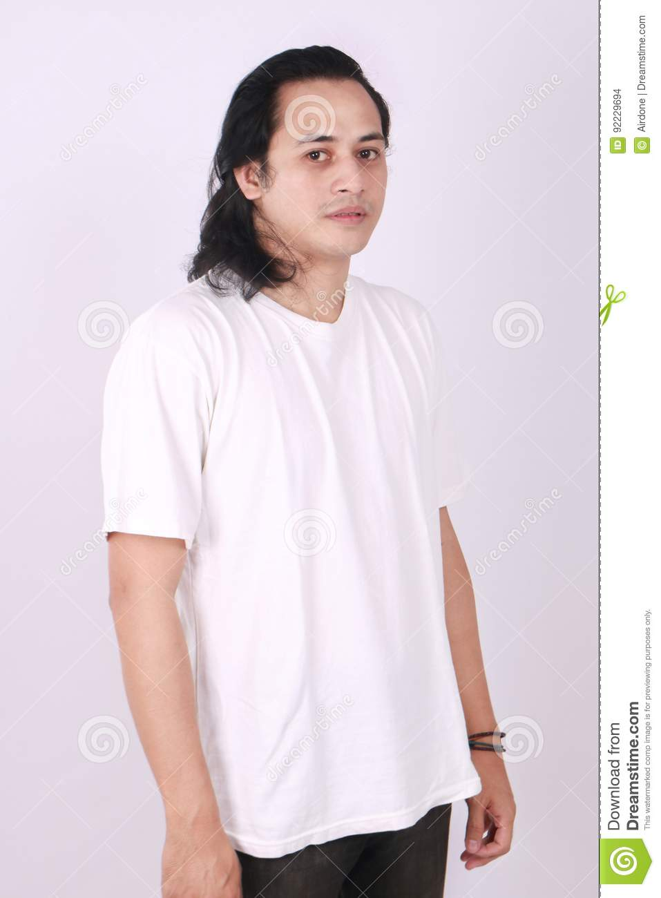 side view blank white t shirt on asian male model stock photo