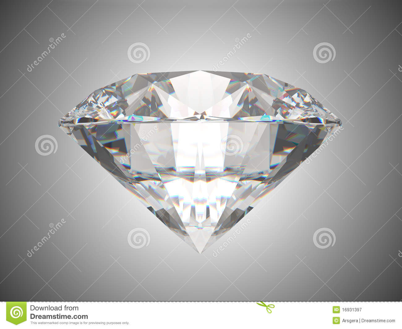 Side View Of Brilliant Cut Diamond Stock Illustration