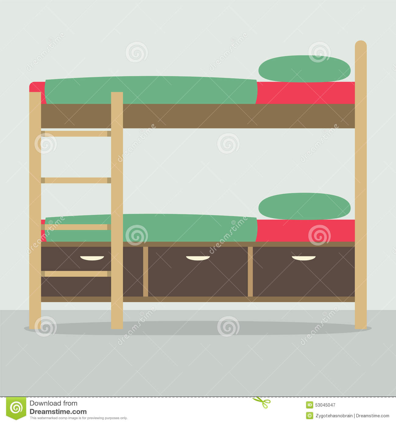Side View Of Bunk Bed On Floor Stock Vector - Image: 53045047