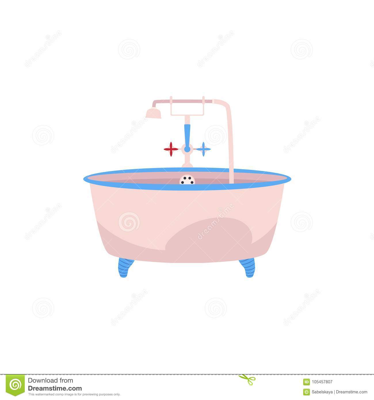 Side View Clawfoot Bathtub With Faucet And Douche Stock Vector ...