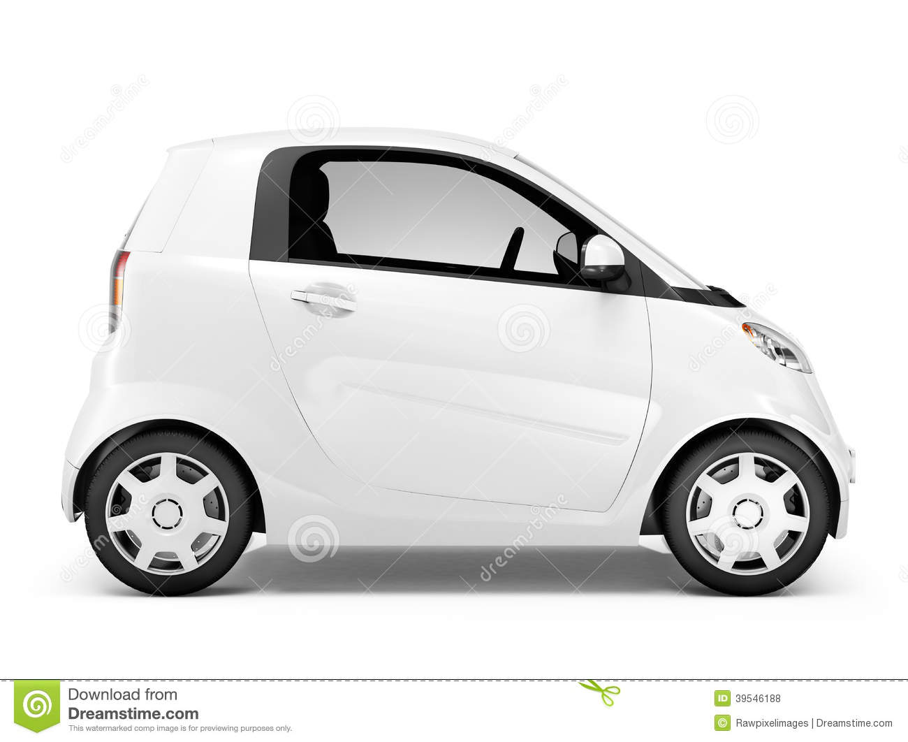 side view of 3d white mini car stock photo image 39546188