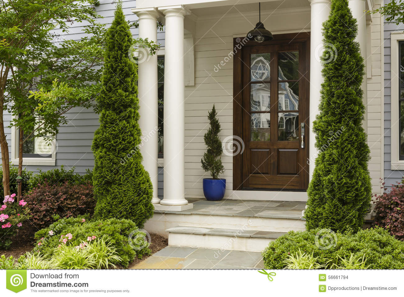 Side View Of Dark Wood Front Door Stock Photo Image