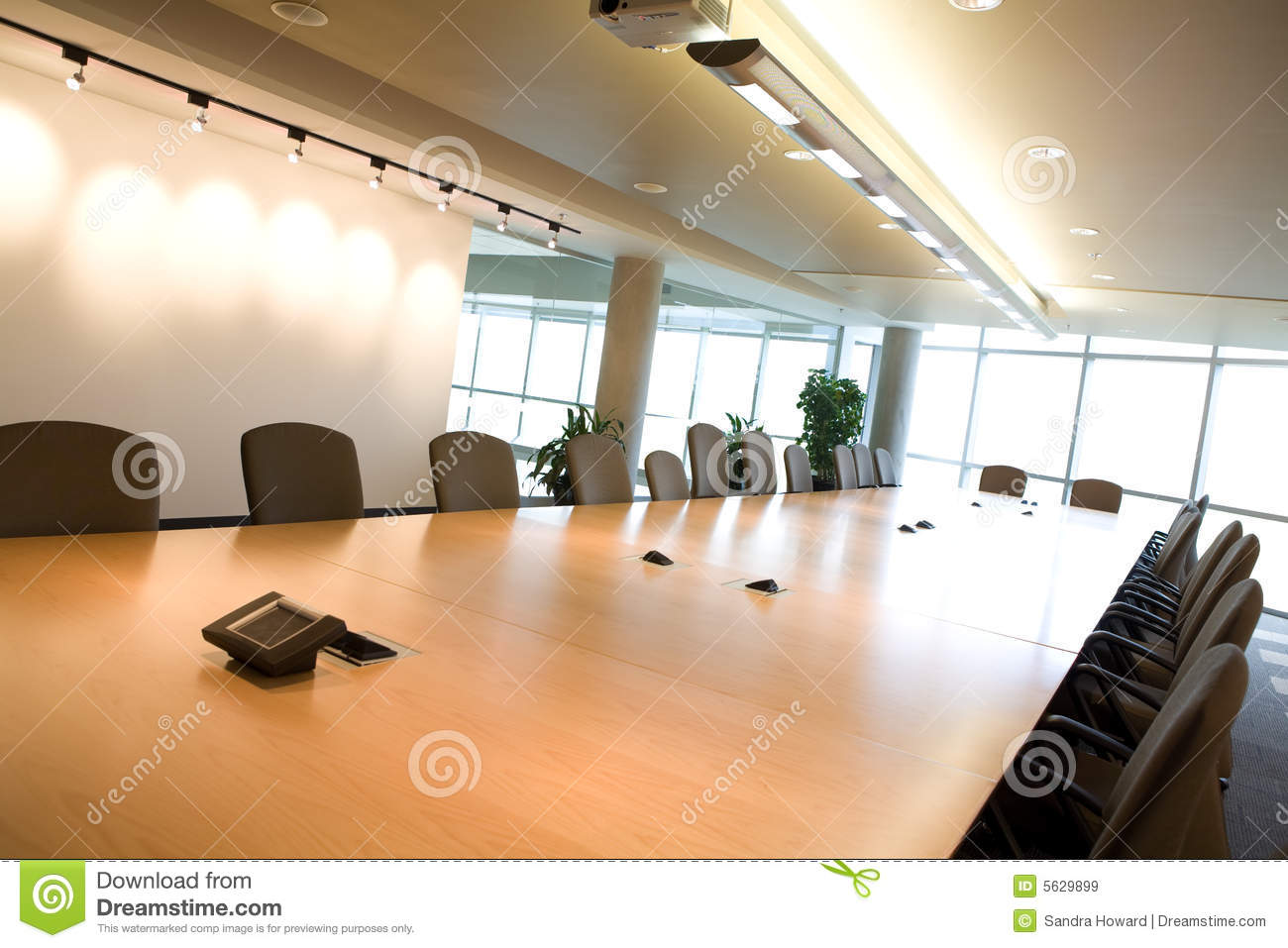 Side view of executive boardroom in office.