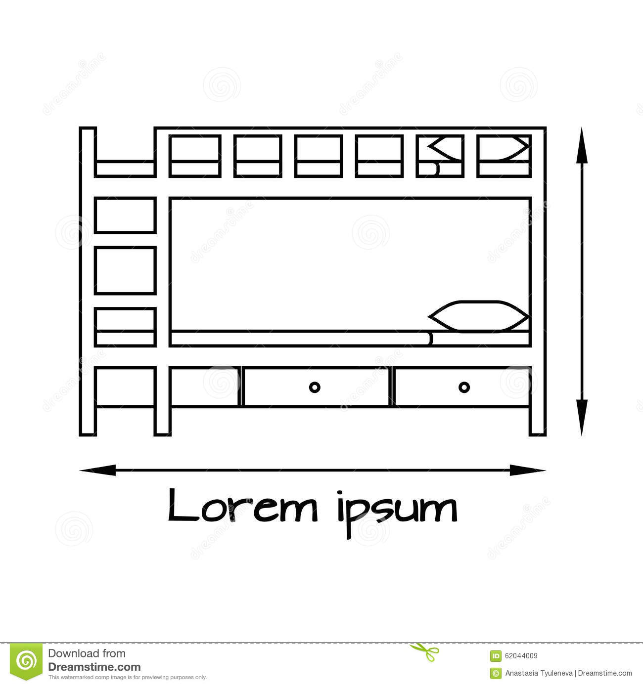 Side View Flat Illustration Of Bunk Bed Stock