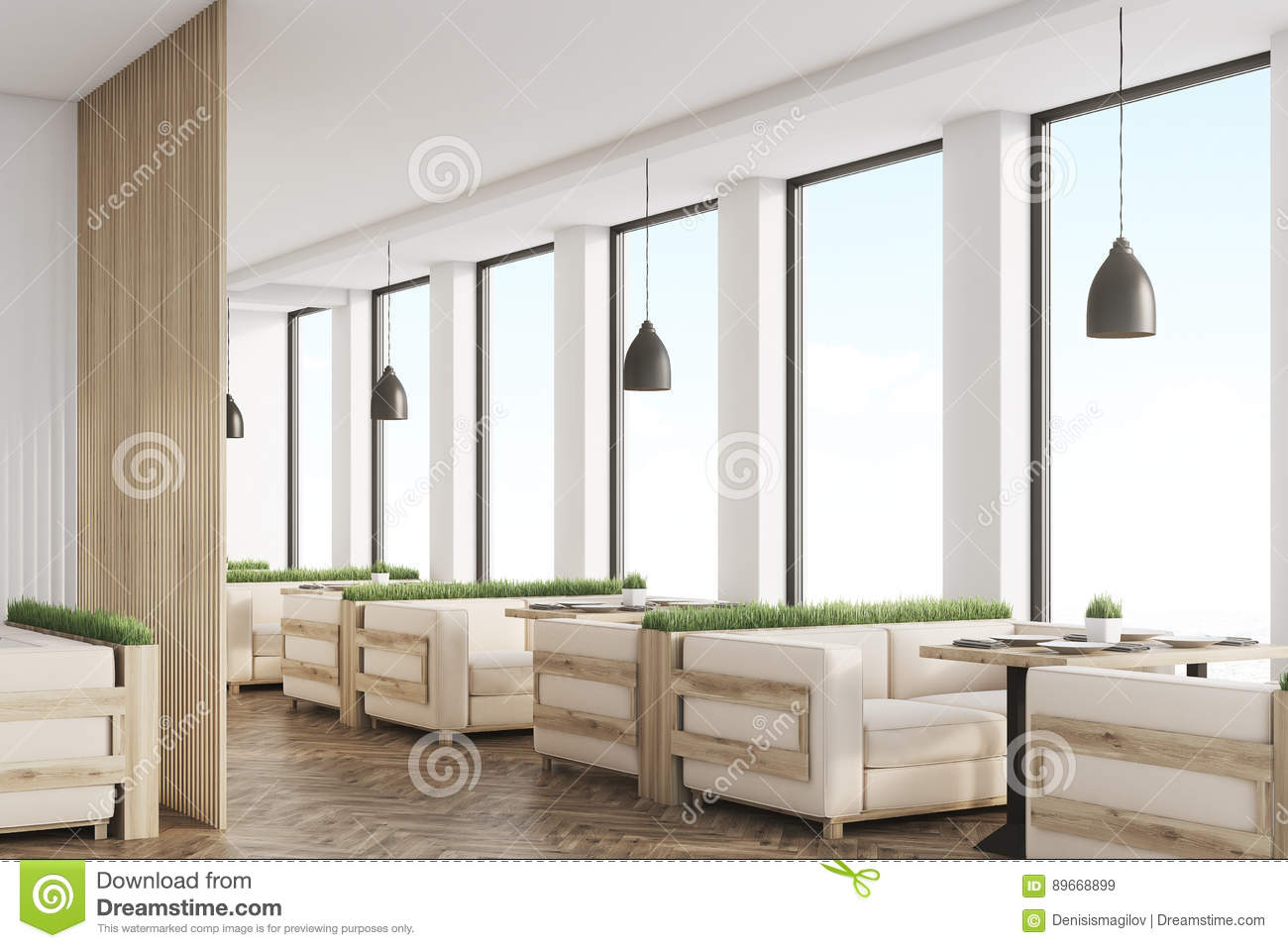 side view of grass cafe with light wood sofas stock illustration