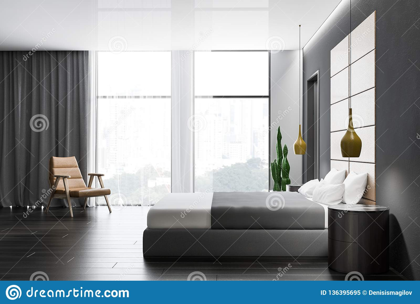 Side View Of Gray Bedroom Interior Stock Illustration Illustration Of Bedroom Headboard 136395695