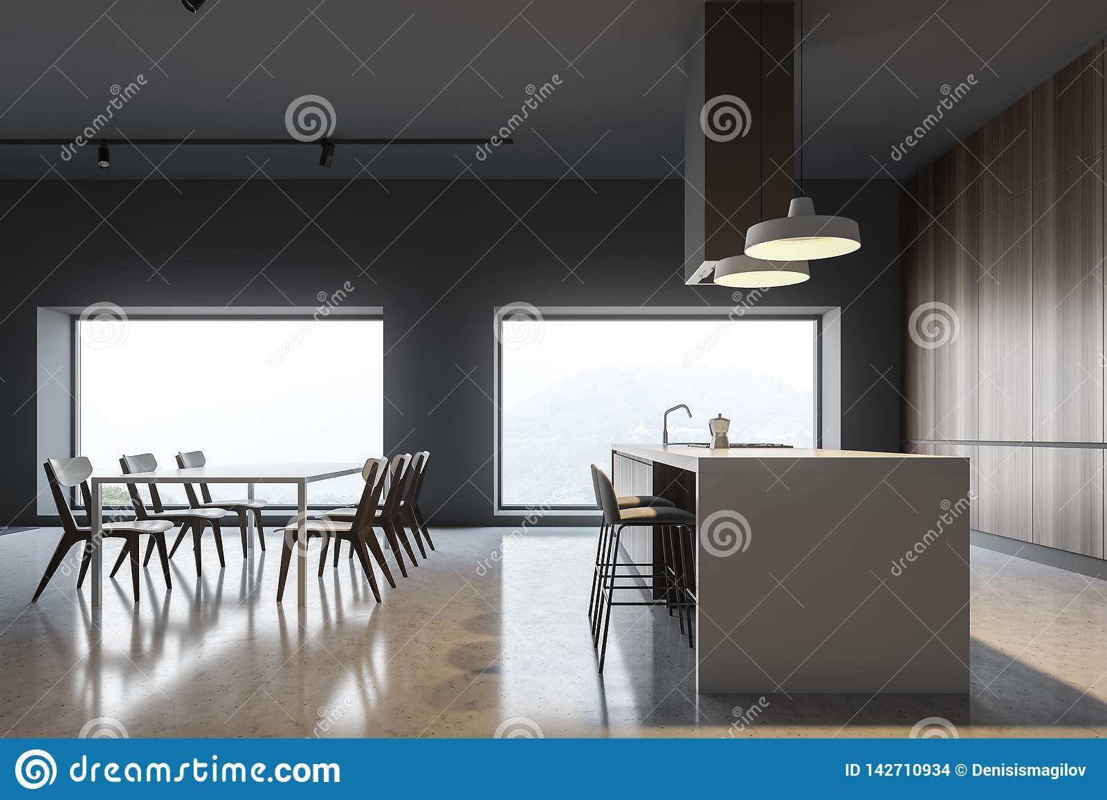 Side View Of Gray And Wood Kitchen Bar And Table Stock Illustration Illustration Of Decor Luxury 142710934
