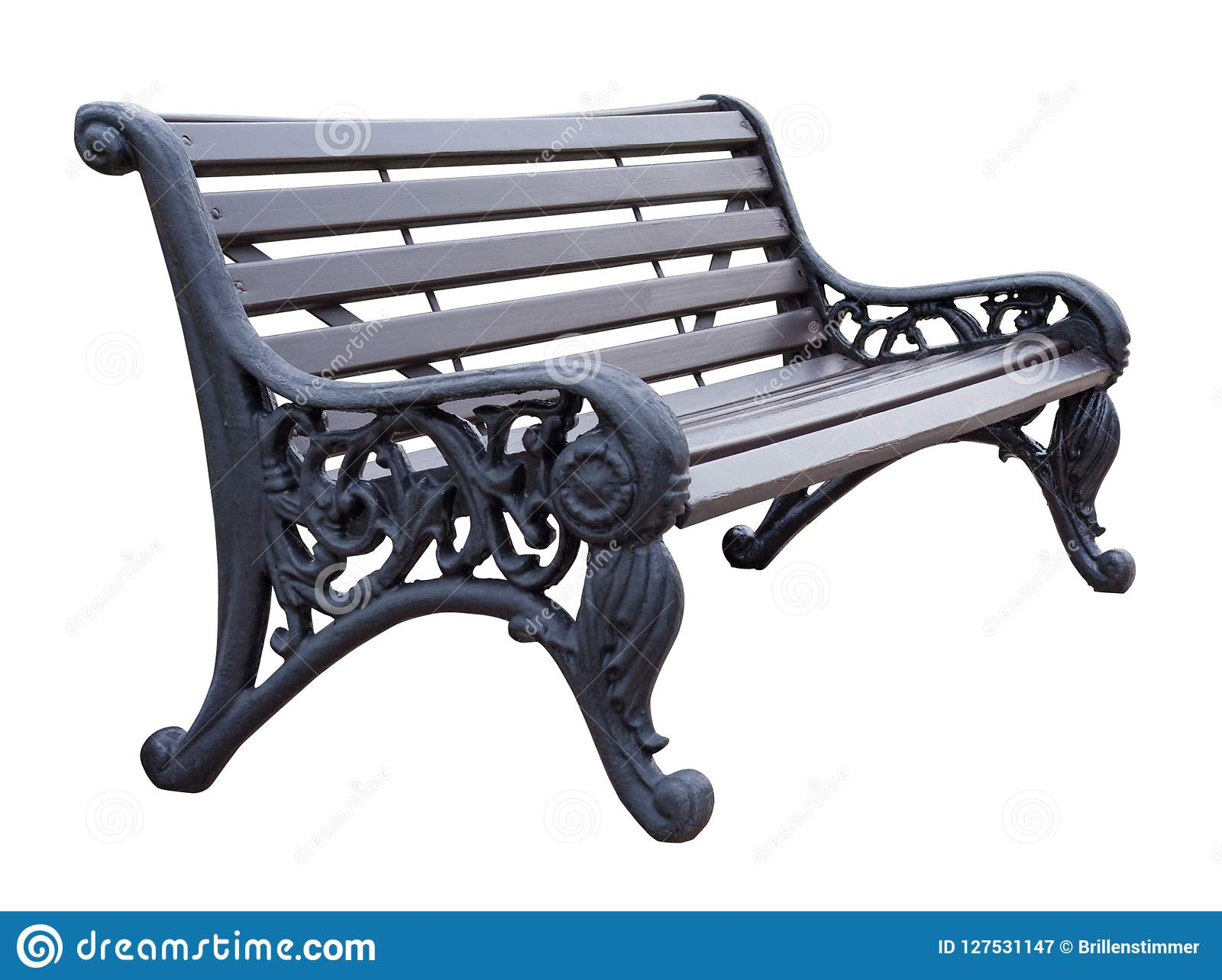 Side View On A Gray Wooden Bench Isolated Stock Image Image Of