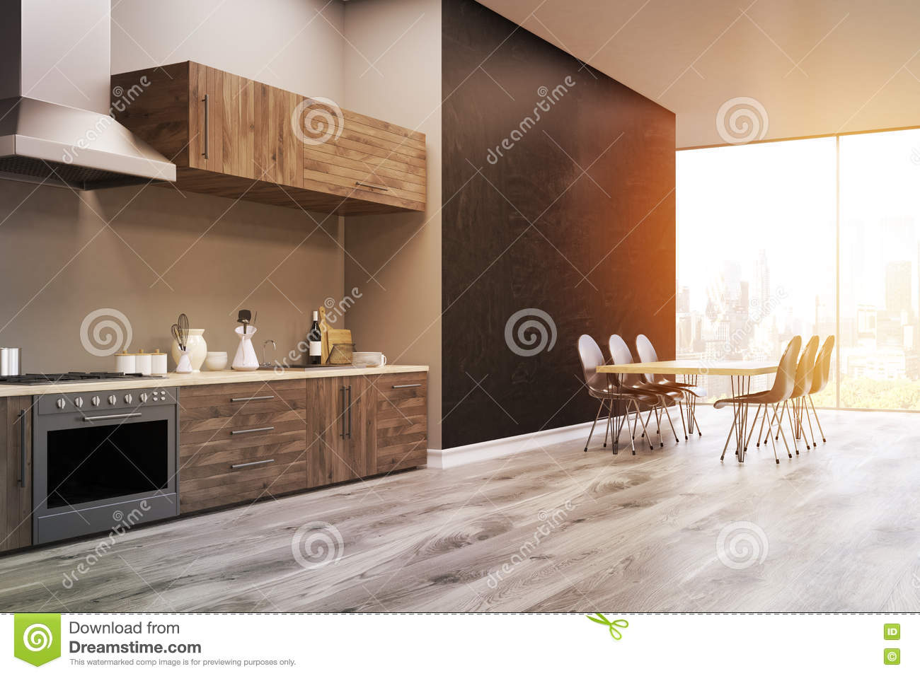 side view of a kitchen interior black wall toned stock