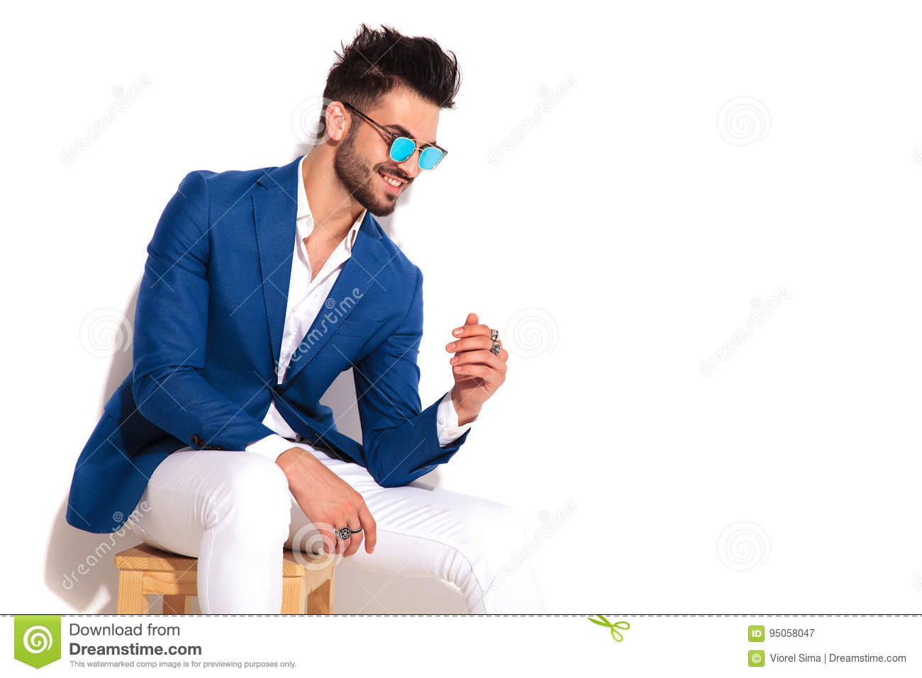 Man sitting in chair side - Background Chair Elegant Laughing Man Side Sitting