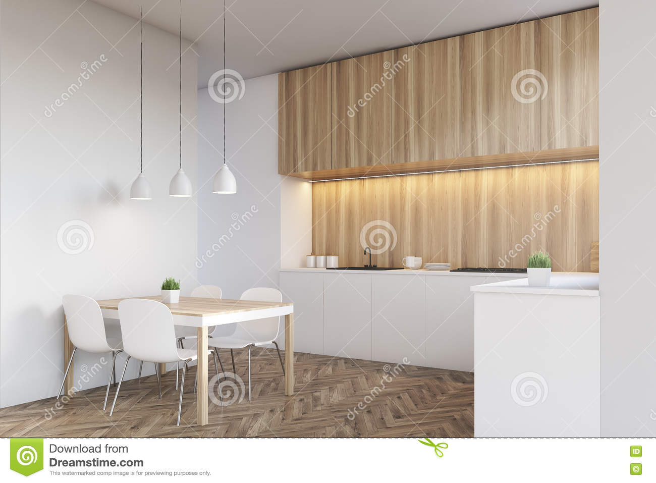 Side View Of A Light Wood Kitchen Interior Stock ...