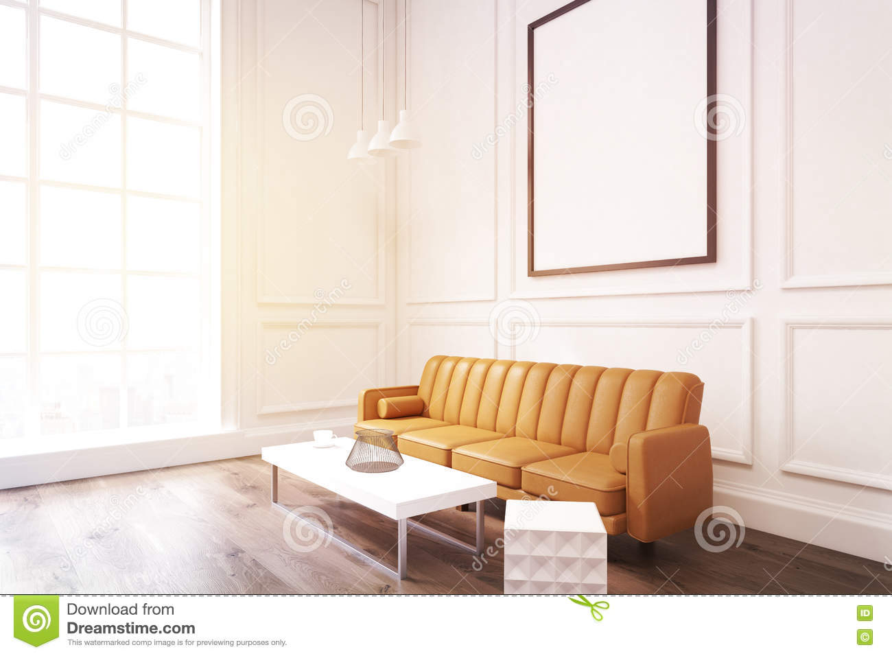 Side View Of A Living Room With Poster, Brown Sofa And A Coffee ...