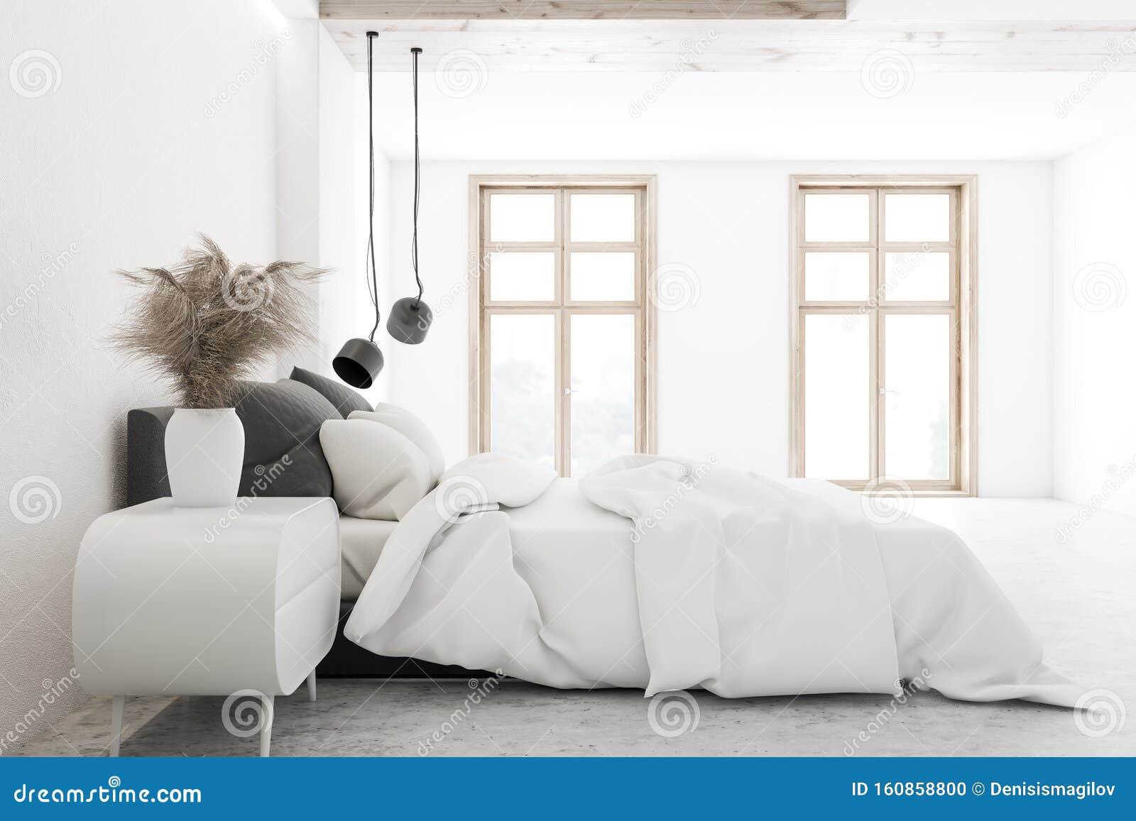 Side View Of Luxury White Bedroom Interior Stock Illustration Illustration Of House Floor 160858800