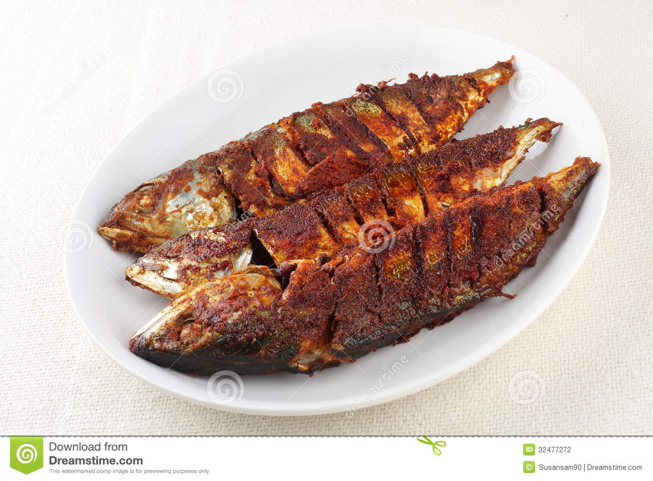Indian cusine mackerel deep fry.