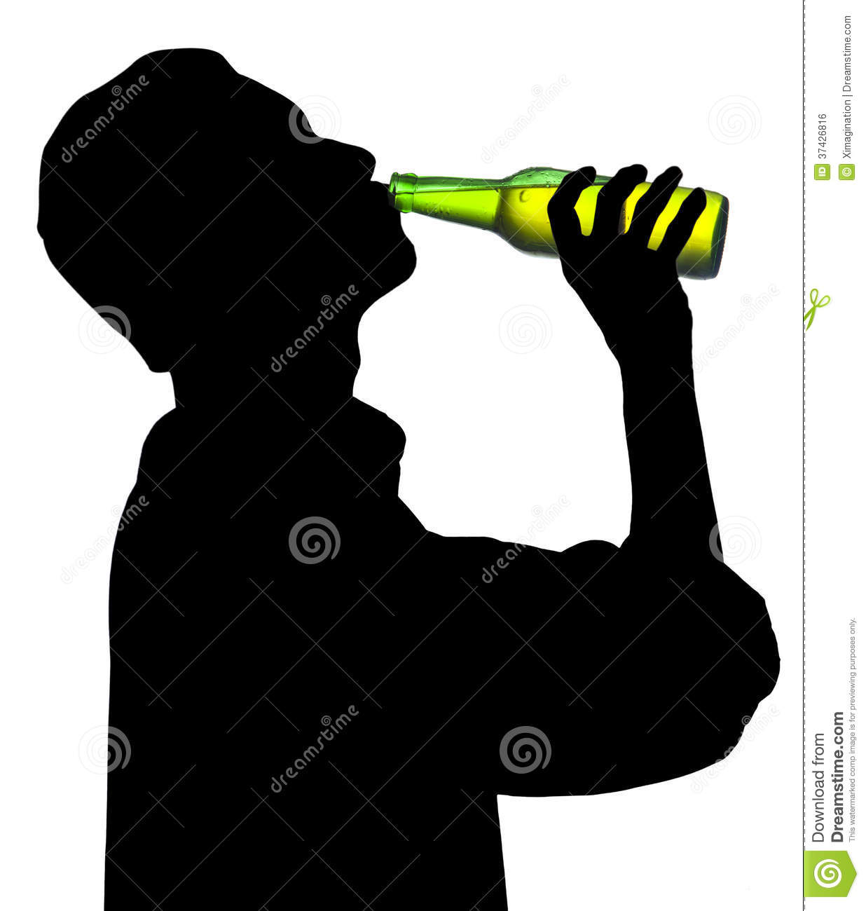 Guy Drinking Beer Outline