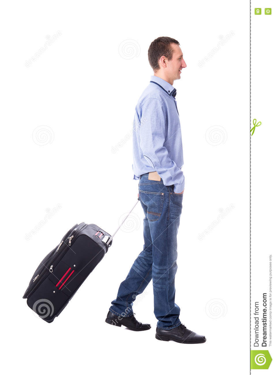 1b49a6d518b8 Side view of middle aged business man walking with suitcase isolated on white  background