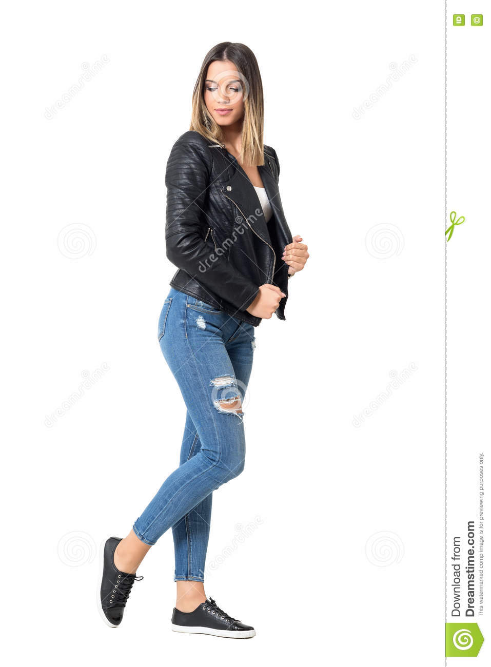 Side View Of Modern Casual Fashion Girl With Ombre Flamboyage