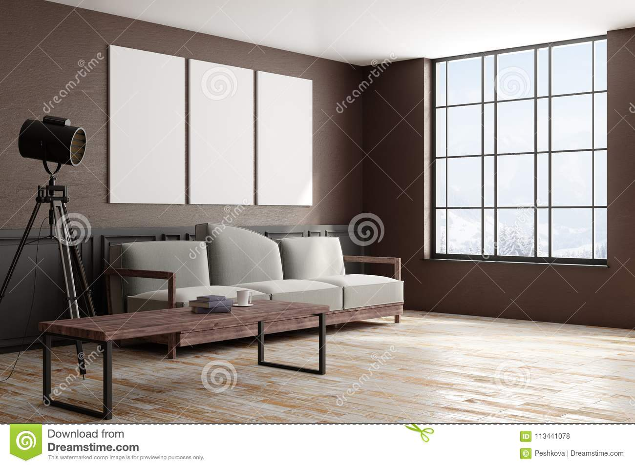 Side of modern interior with poster stock illustration