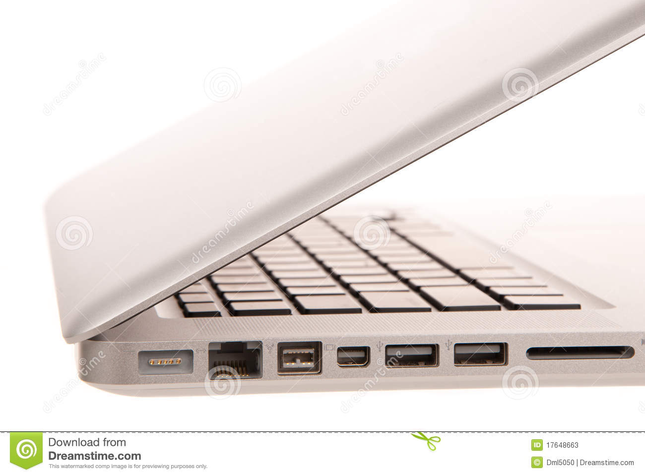 Side view of modern laptop computer slots