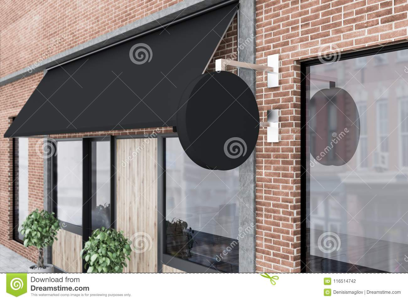 Side View Of A Modern Pub Exterior, Signpost Stock Illustration ...