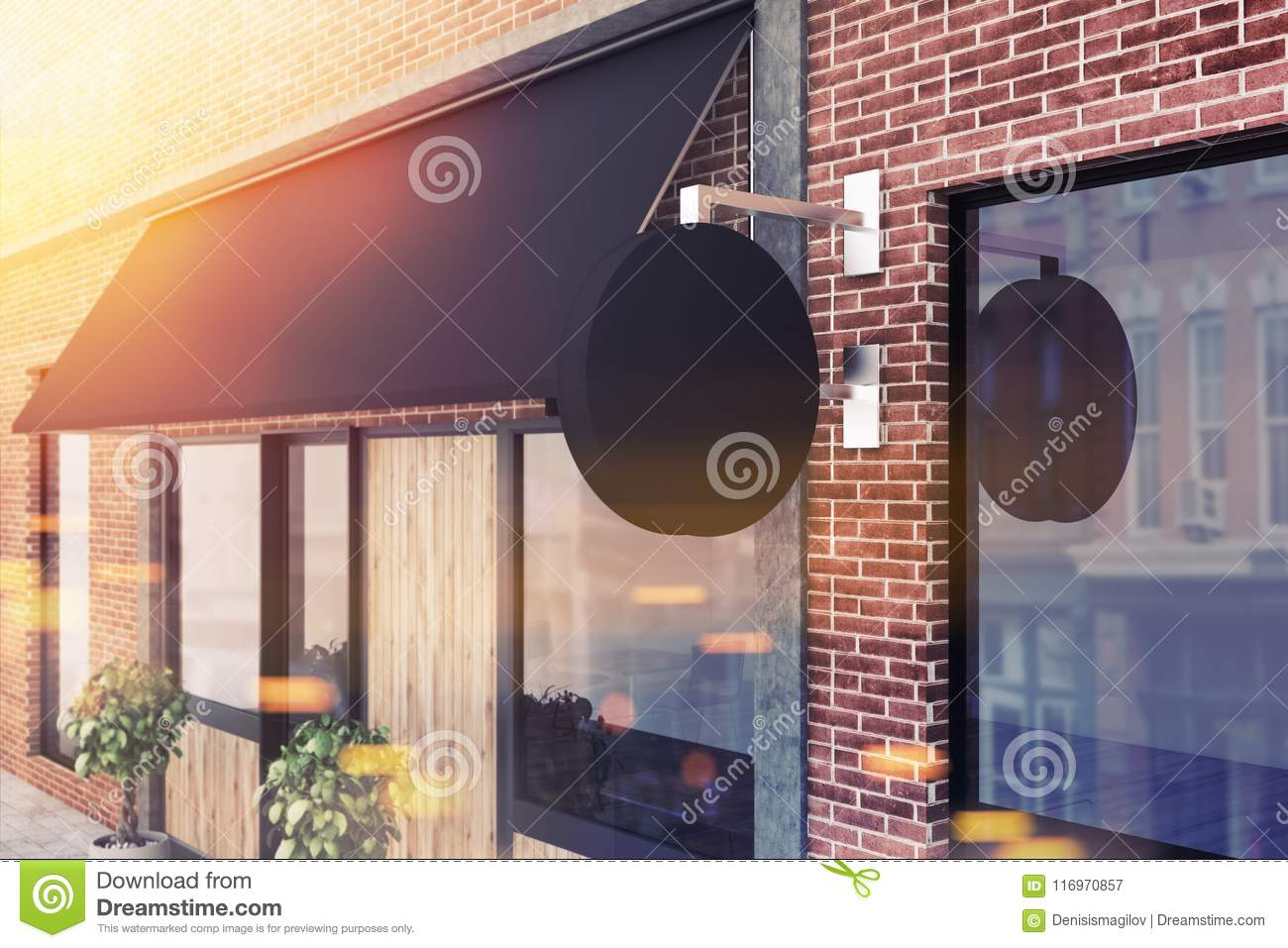Side View Of Modern Pub Exterior, Signpost Mockup Stock Illustration ...