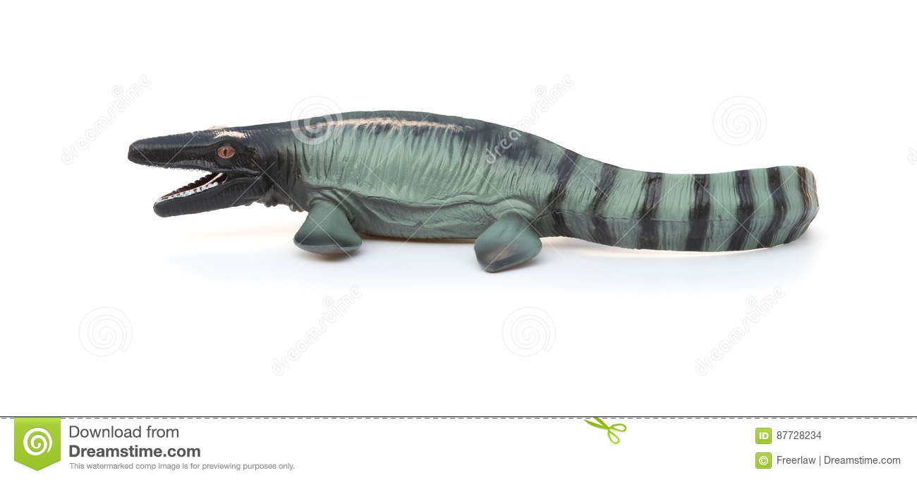 Side view Mosasaurus toy with shadow on white