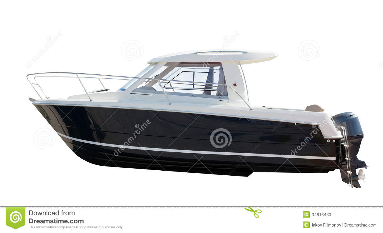 Side view of motor boat. Isolated over white