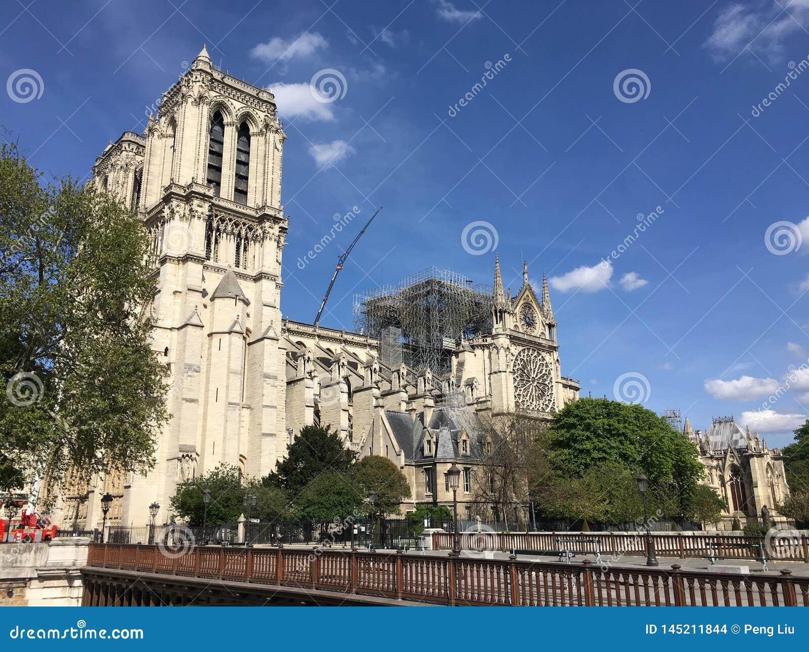 Side view of Notre Dame De Paris after fire accident