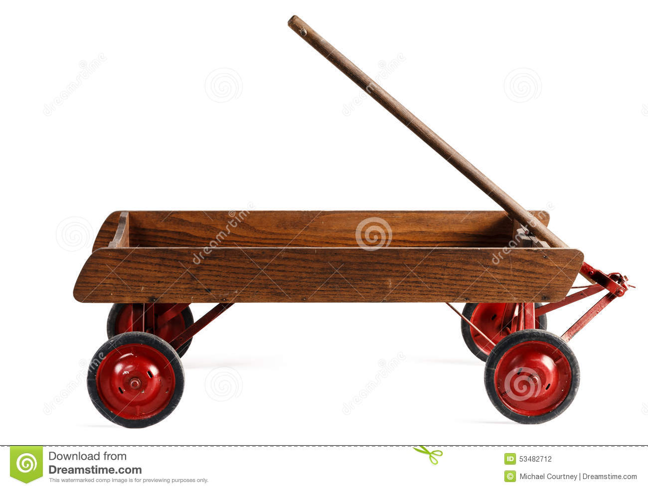 Side View Of An Old Childs Wooden Wagon Isolated On White Stock